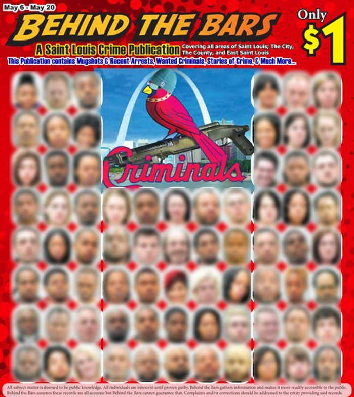 A past issue of the Behind the Bars tabloid, Edmund Tauk's first mugshot-powered publication. (Faces blurred by RFT.) - SCREENSHOT VIA FACEBOOK