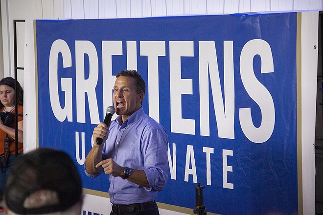 Greitens may have drawn a modest crowd to his event, but in reality his show was for just one man. - DANNY WICENTOWSKI