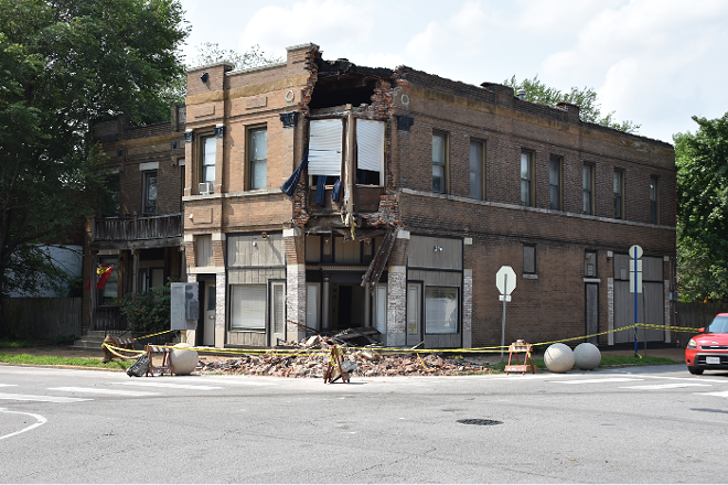 The building at 3201 Arsenal Street after an SUV crashed into it on July 14, 2021. - DOYLE MURPHY