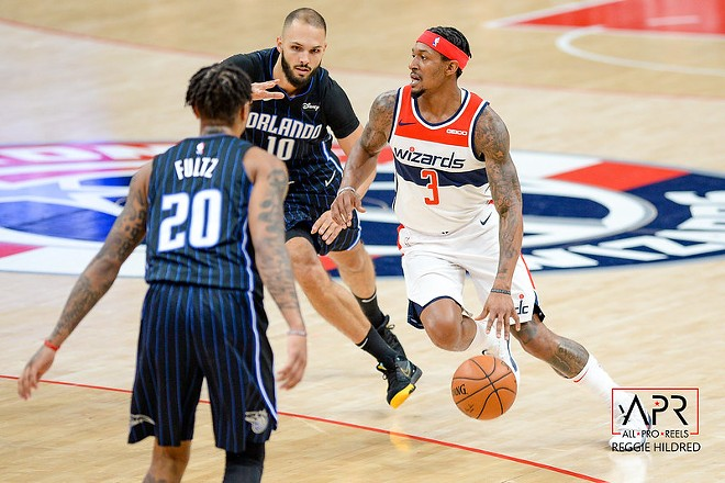 Beal playing a basketball game for his team the Washington Wizards. -  ALL PRO REELS / FLICKR