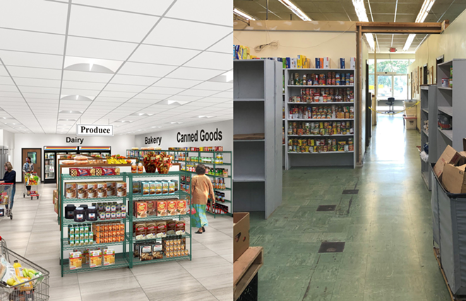 A rendering of what the new food pantry will look like (left) versus what the pantry currently looks like (right). - COURTESY FEED MY PEOPLE
