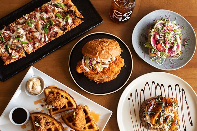 A selection of items from Coma Coffee: whiskey onion flatbread, buffalo chicken sandwich, watermelon radish avocado toast, chicken and waffles, and peach and goat cheese toast. - MABEL SUEN