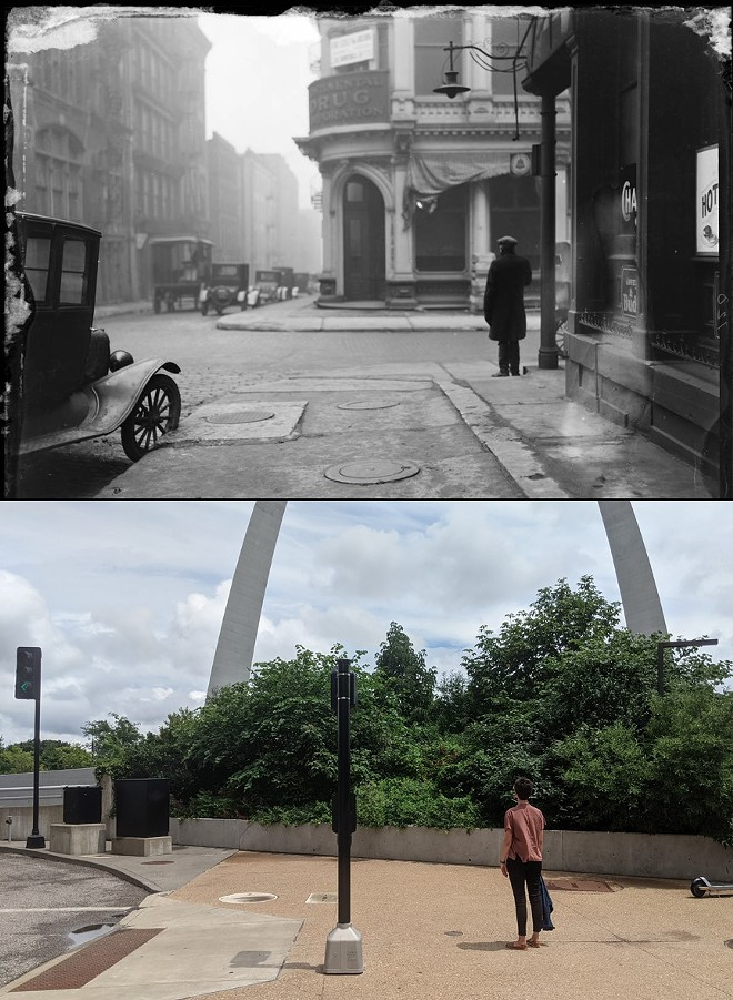 Mike McCubbins tracked down a photo in the Lemens collection (above) with the exact spot near the Gateway Arch today (below). - LEMEN COLLECTION/MIKE MCCUBBINS