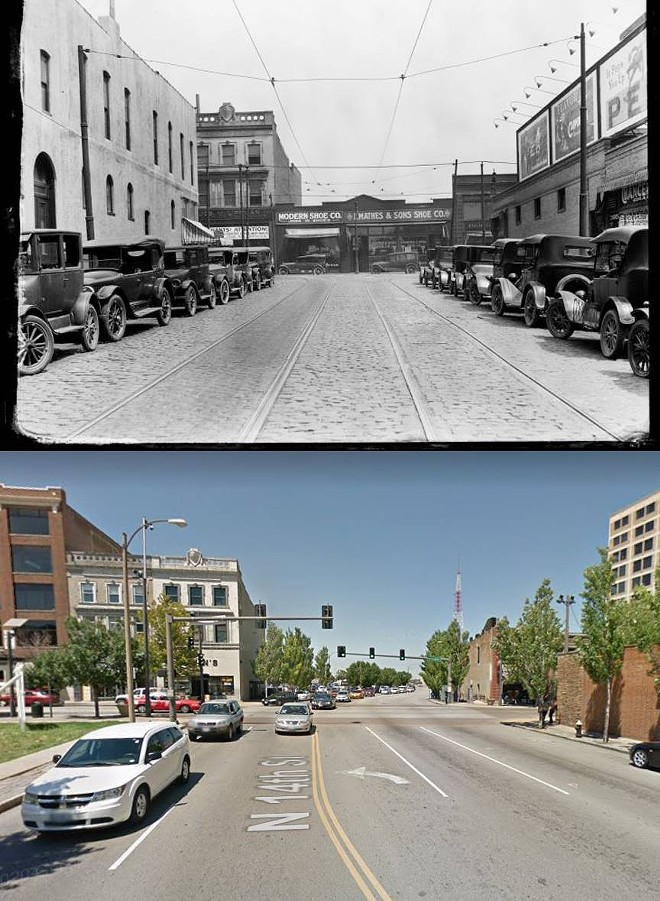 The location of an image from the Lemen collection (above) was identified by McCubbins, who connected it to North 14th Street facing Washington Avenue. - LEMEN COLLECTION/GOOGLE