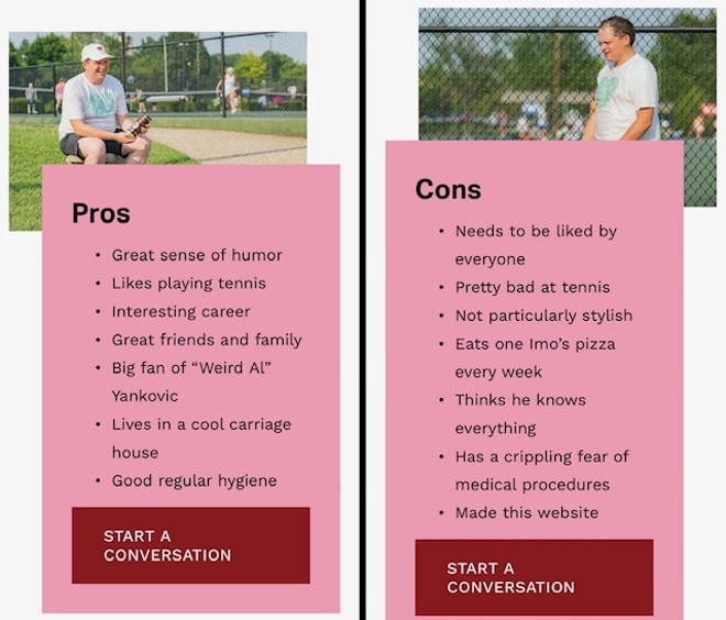 Pros and Cons lists available at DateColinOBrien.com
