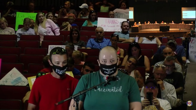 Laura Dresch, a parent from the Fox C-6 school district, speaks in favor of a mask mandate at a Board of Education meeting on August 17. She is the parent of two kids with compromised lungs and has an autoimmune disease, as well. - SCREENGRAB FROM  YOUTUBE