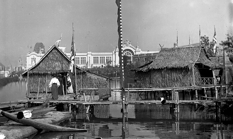 A bamboo structure was built for the Moro tribe on Arrowhead Lake as part of the 47-acre Philippine Village at the 1904 World's Fair. - MISSOURI HISTORY MUSEUM COLLECTIONS