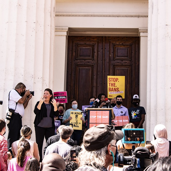 """Missouri Representative Cori Bush speaks to the crowd at the 'Stop the Bans! Rally for Abortion Access"""" on the steps of the Old Courthouse. - JENNA JONES"""