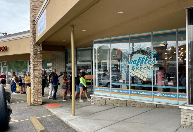 Lines have been a constant at the new Oakville store. - COURTESY ERIC MOORE