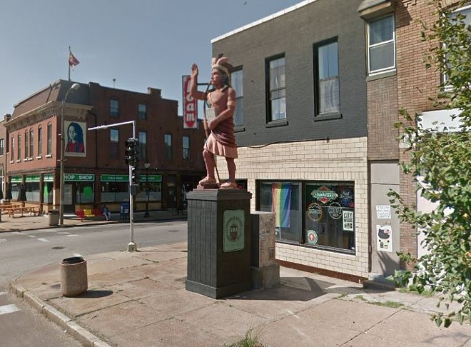 A statue of a Cherokee man has been removed from the intersection near the Cherokee Street district. - GOOGLE MAPS
