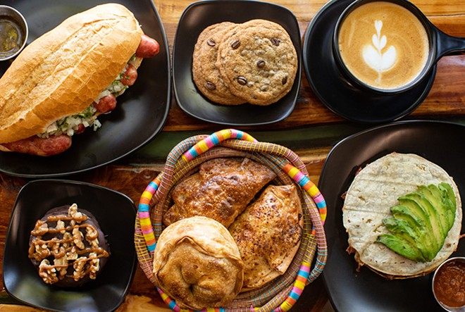 The coffee is unsurprisingly excellent, but Coffeestamp offers a selection of thoughtful, delicious dishes, many unlike any you will find anywhere else in St. Louis. Pictured: choripan, chocolate chip cookies, latte, turtle alfajores, empanadas and Mayan tortilla. - MABEL SUEN