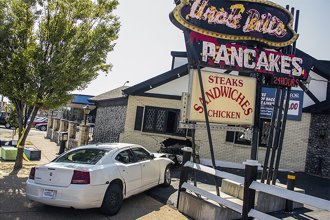 A car crashed into Uncle Bill's earlier today, injuring four people. - DANNY WICENTOWSKI