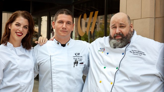 Sous Chef Sierra Eaves, executive chef Scottie Corrigan and executive chef and beverage director of the Angad Arts hotel Matthew Birkenmeier pose in front of Commonwealth. - COURTESY ANGAD ARTS HOTEL / COMMONWEALTH