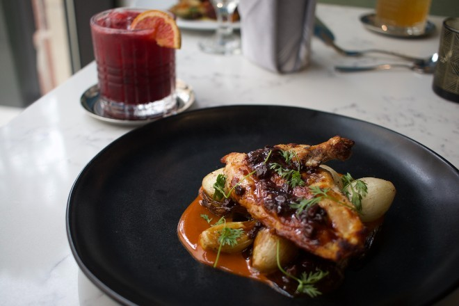 The roast chicken pairs well with the Berry Sour. - CHERYL BAEHR