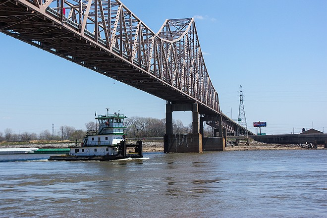 The Mississippi River near downtown St. Louis, about six miles north of where two men tried crossing. - DANNY WICENTOWSKI