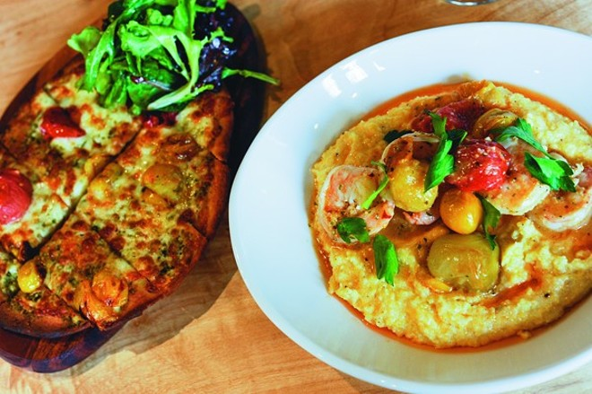 "Flatbread and shrimp and grits are among the Dark Room's ""petite lunch"" offerings. - PHOTO BY KELLY GLUECK"