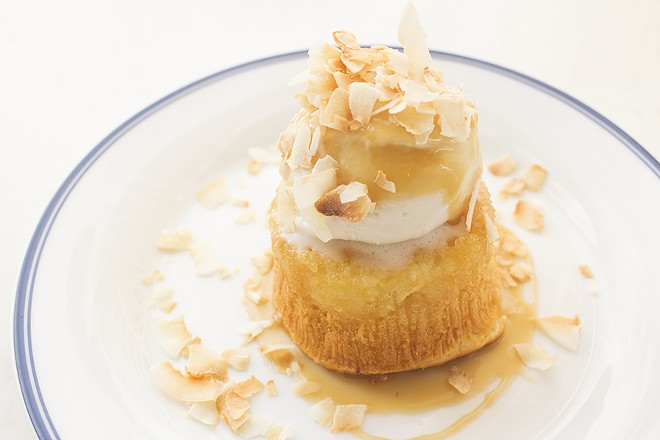 Pineapple-rum cake with coconut and caramel. - PHOTO BY MABEL SUEN