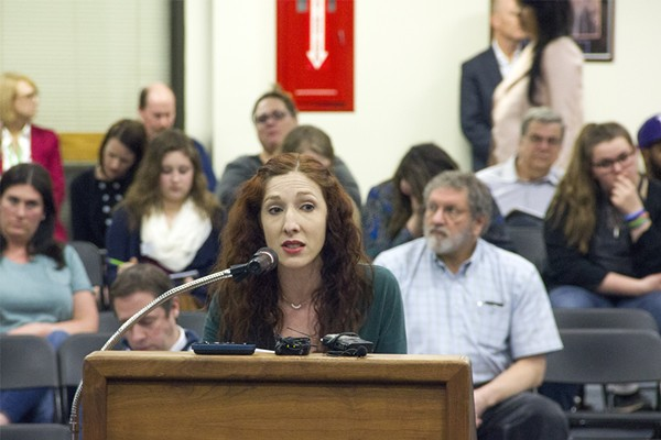 Sally Hunt, a Parkway parent, speaks during a March 8 school board meeting. Hunt and other parents are demanding Best Choice open its curriculum for easier public viewing. - PHOTO BY DANNY WICENTOWSKI