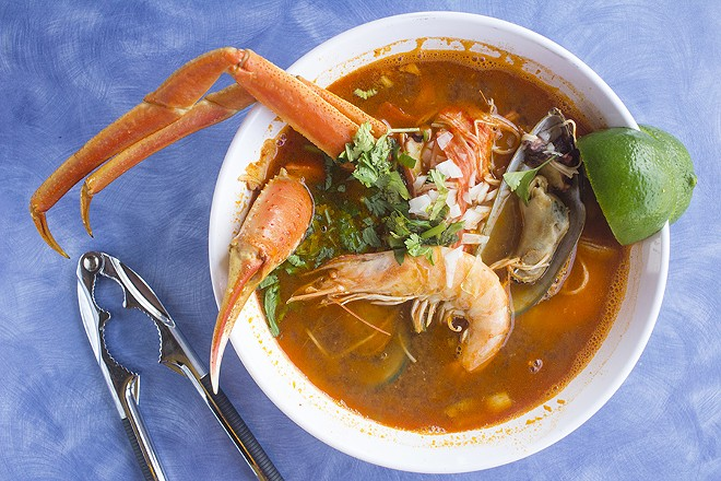 """7 mares"" is a traditional Mexican seafood soup studded with oysters, clams, octopus, crab meat, shrimp, crab legs, catfish and rice. - PHOTO BY MABEL SUEN"