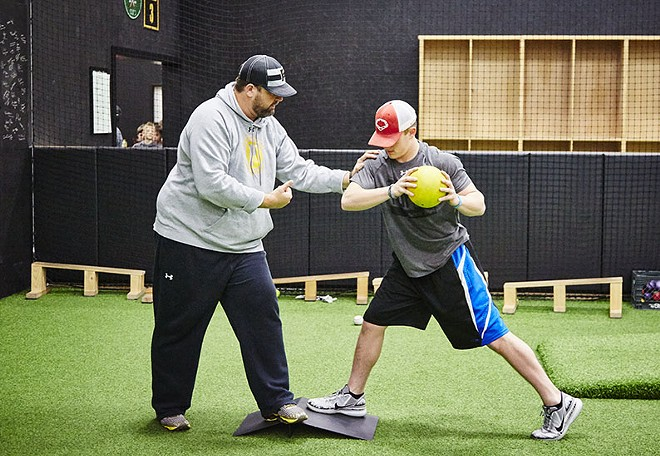 Ricky Maddock, a junior at Kirkwood High, gets some one-on-one training. - STEVE TRUESDELL