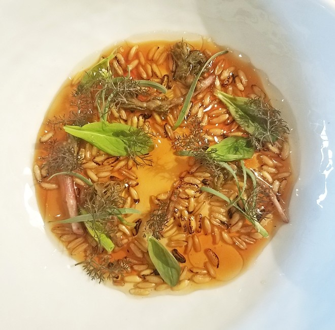Roasted kamut berries , mushroom juice , aged beef fat , preserved hop shoots - JOE CLARKE