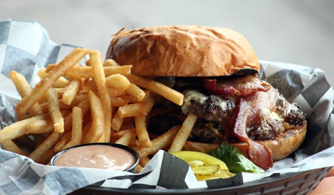 The burger at Snax Gastrobar: Something to behold. - PHOTO BY JOHNNY FUGITT