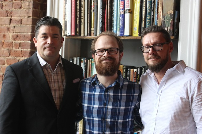 Jonathan Schoen (left) and Brian Schmitz (right) are partners in Polite Society; Travis Hebrank, center, runs the bar program. - PHOTO BY SARAH FENSKE