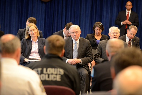 Attorney General Jeff Sessions speaks to law enforcement on March 31 in St. Louis - PHOTO VIA DEPARTMENT OF JUSTICE/TWITTER