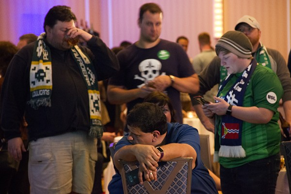 Soccer fans mourn as last night's returns show Prop 2 going down to defeat. - PHOTO BY DANNY WICENTOWSKI