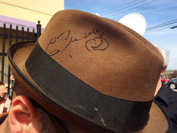 Mat Wilson of Loot Rock Gang and his hat autographed by Berry - PHOTO BY JAIME LEES