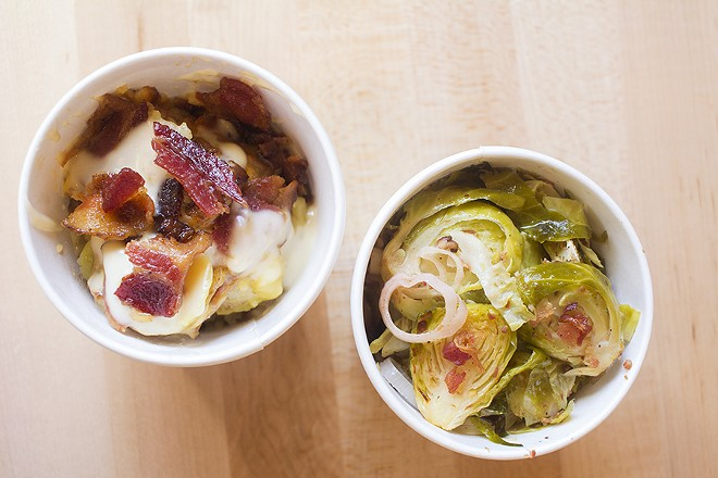 Sides include Brussels sprouts. - PHOTO BY MABEL SUEN
