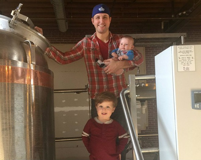 Center Ice Brewery creator and entrepreneur Steve Albers with his two children, Nash, three, and Franklin, five months. - COURTESY OF STEVE ALBERS