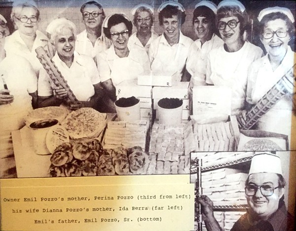 Perina Pozzo, second from left, was the mother of the restaurant's current co-owner Emil Pozzo Sr. She and her husband Emil (lower right) founded the commissary that serviced the Rich and Charlie's restaurants. - COURTESY OF EMIL POZZO JR.