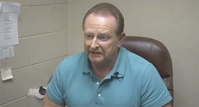 Former Mississippi County Sheriff Keith Moore, shown in a TV interview after a jail staff walkout, says Hutcheson 'terminated himself' from the detention center. - KFVS 12