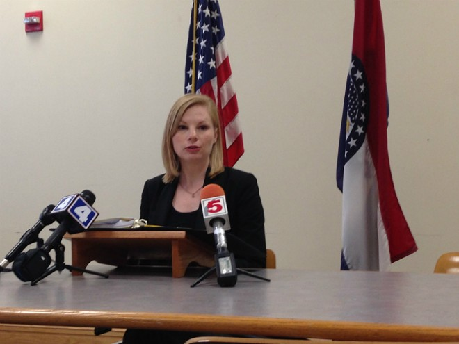 Missouri State Auditor Nicole Galloway, photographed at a previous press conference, says Ferguson court officials charged illegal fees. - PHOTO BY DOYLE MURPHY