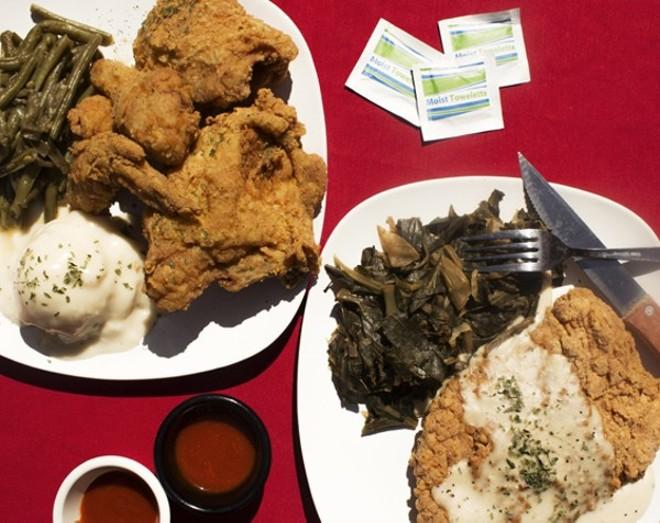 Miss Leon's chicken-fried steak and fried chicken. - PHOTO BY MABEL SUEN