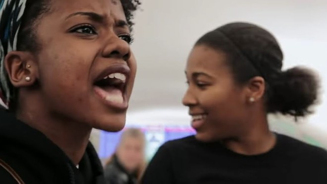 Protesters Brittany Ferrell (left) and Alexis Templeton appear in a new documentary airing this weekend. - VIA YOUTUBE/SHOW ME DEMOCRACY