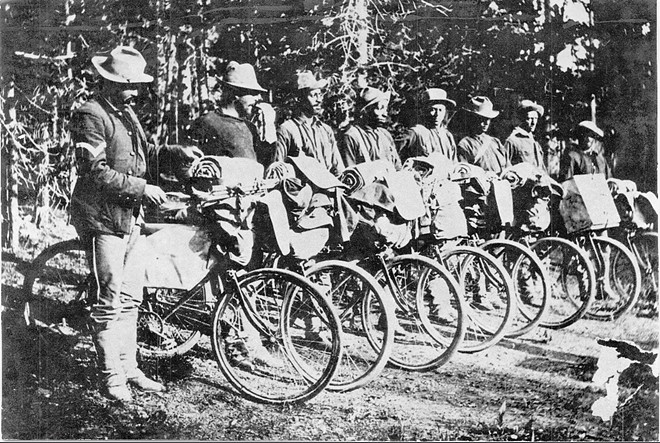 Members of the 25th Regiment pose with their 'state-of-the-art' test bicycles in 1897. - COURTESY OF THE NATIONAL ARCHIVES