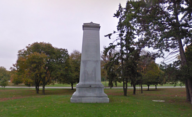 The controversial Confederate Memorial in Forest Park. - IMAGE VIA GOOGLE MAPS