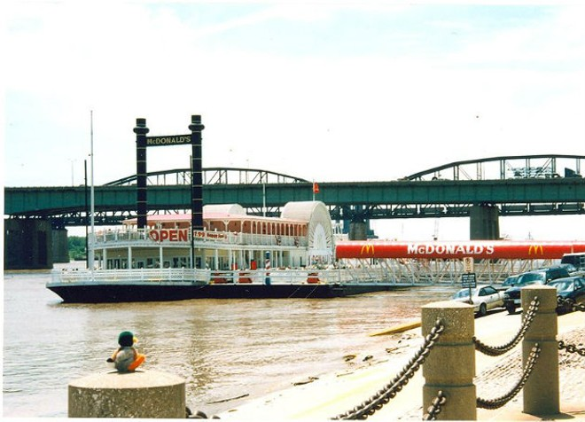 The Floating McDonald's in its glory days on the riverfront. - IMAGE VIA FLICKR