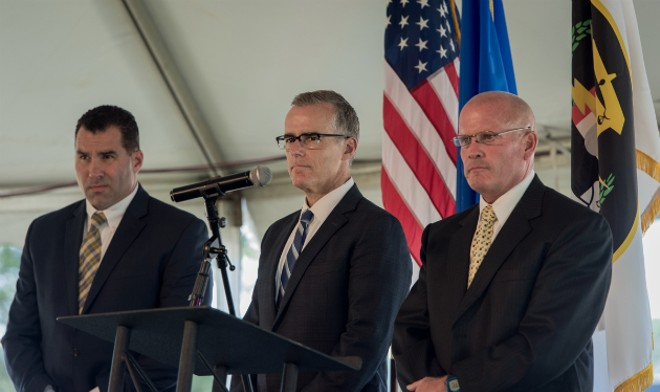 Acting FBI Director Andrew McCabe (center) was once a law student at Washington University. - IMAGE VIA FBI