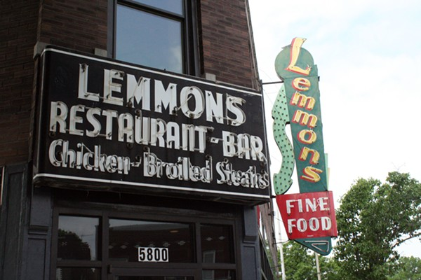Lemmons' signs still stand at 5800 Gravois Ave. - PHOTO BY JOHNNY FUGITT