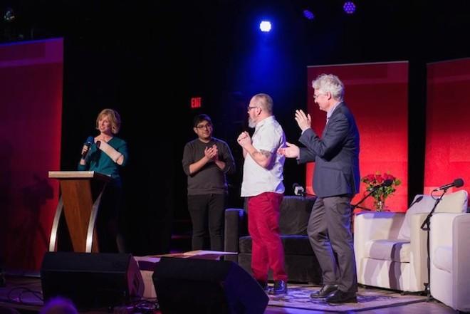 Host Anne Strainchamps, left, with Rehman Tungekar, Charles Monroe-Kane and Steve Paulson.