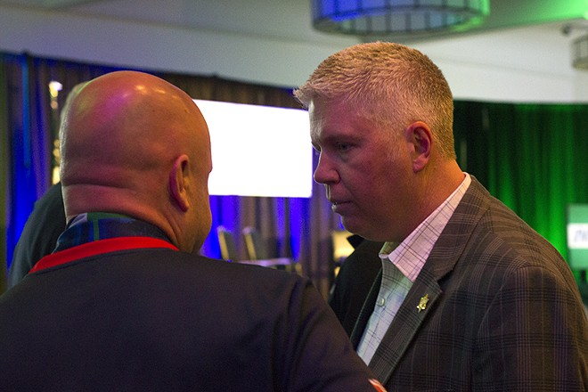 Jeff Roorda, spokesman for the St. Louis police union, attending the watch party for the campaign to bring a soccer stadium to St. Louis. Roorda and the union endorsed the tax earmark for the stadium. - DANNY WICENTOWSKI