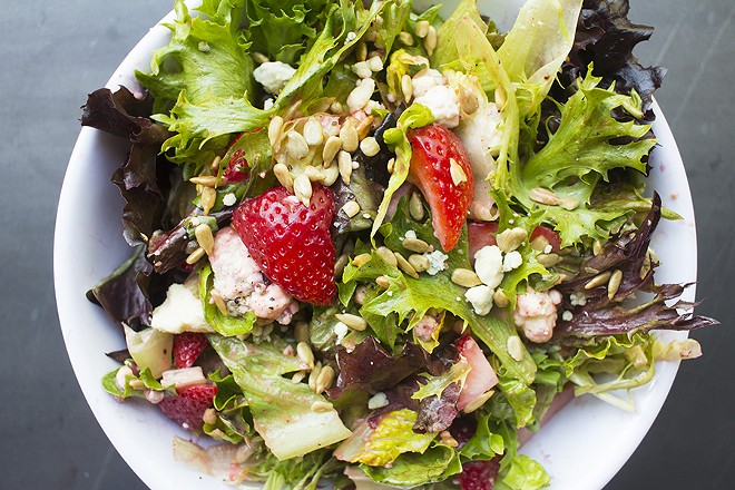"""The """"So Very Berry"""" salad is filled with fresh strawberries. - PHOTO BY MABEL SUEN"""