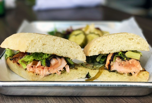 GRILLED SALMON SANDWICH WITH FENNEL AIOLI, GREENS AND PICKLED SEASONAL VEGETABLES   SARA GRAHAM