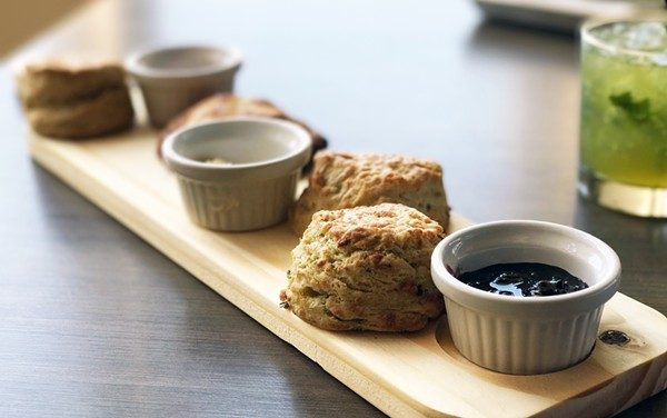 BISCUIT FLIGHT WITH LEMON LAVENDER, POBLANO WHITE CHEDDAR, BUTTERMILK AND HONEY-DROPPED BISCUITS, HOUSE-MADE JAM, HONEY AND BUTTER   SARA GRAHAM