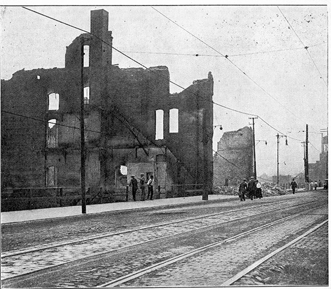 During the violence of July 2, officers used billy clubs to break photographers' cameras. Photos of the aftermath were published by the NAACP magazine The Crisis in September 1917. - PHOTO VIA THE CRISIS