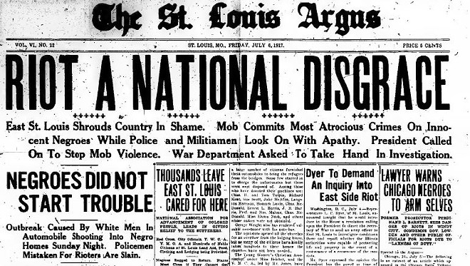 The July 6 edition of the St. Louis Argus, a black weekly, denouncing the violence of the riots. - PHOTO VIA ARCHIVE.ORG