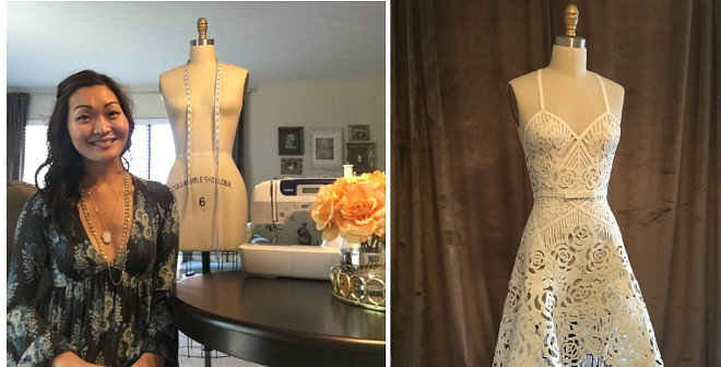 St. Louis designer Ashley Ulicni's ornate, handmade toilet paper wedding dress may win a national contest — with your help. - ASHLEY ULICNI